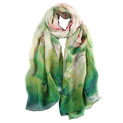 Großer Schal (STORY OF SHANGHAI Frauen-Maulbeer-Blumen-Druck Großer Silk Schal)