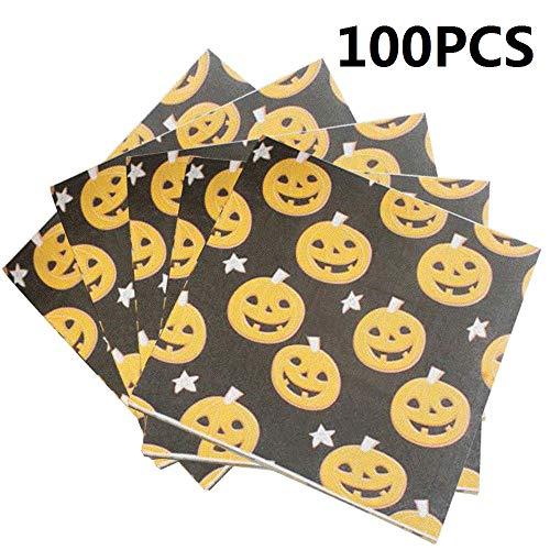 100-Pack Mini Kürbis Serviette Getränke Servietten Einweg Papierservietten Party für Halloween Thema Party Dekoration Favor Supplies (Mini Kürbis)