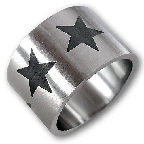 Fly Style® - 316L Edelstahl Statement Ring Black Star- Farbe silber schwarz - sterne breit pop punk gothic david bowie , Ring Grösse:21.3 (David Stern Modeschmuck)
