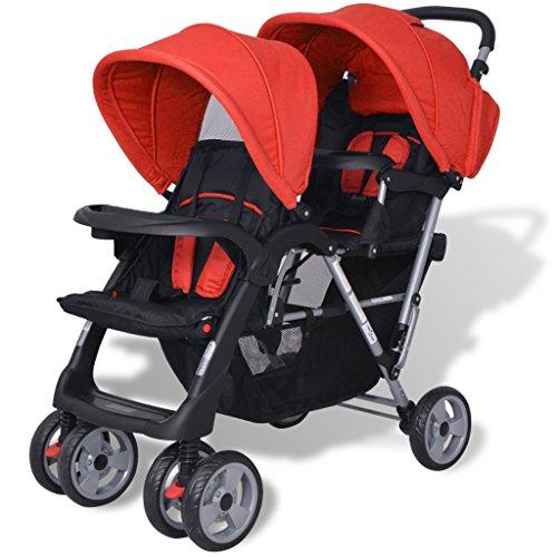 Festnight Geschwisterwagen Kinderwagen Geschwisterkinderwagen aus Stahl + Oxfordgewebe für 1-2 Kinder bis zu je 15kg - Rot und Schwarz