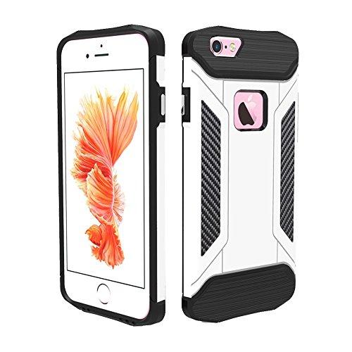Phone Case & Hülle Für iPhone 6 Plus und 6s Plus TPU + PC Stahl Rüstungskoffer ( Color : White ) White