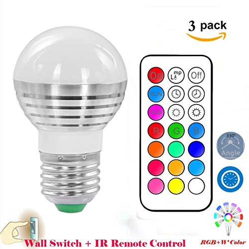 Pack-of-3Lennystone-Led-RGB-Light-Bulbs16-Colours-Changing-Dimmable-Spotlights-with-IR-Remote-ControlParty-Light-Mood-Ambiance-Lighting-5W-3Pcs
