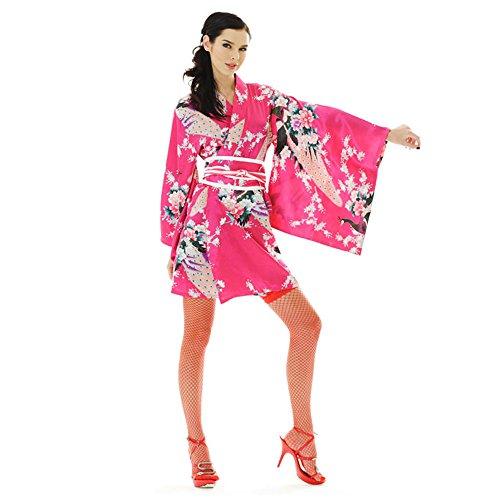 Princess of Asia Kimono Damen Negligee Kleid Cosplay Lolita Minikleid Senbazuru Pink Satin One Size