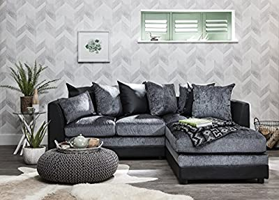 Corner Sofa Set | 2 & 3 seater | by Laura James | Premium Quality | Right Hand | Grey & Black | Leather & Chenille Fabric by AGTC Ltd.
