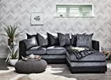 Corner Sofa Set | 2 & 3 seater | by Laura James | Premium Quality | Right Hand | Grey & Black | Leather & Chenille Fabric