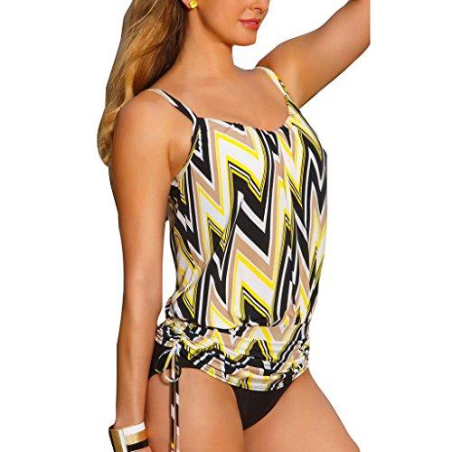 Damen Two Piece Badeanzug mit Spitze Highdas Sommer Tankini Sets Retro Vintage Bademode S M L XL Gelb