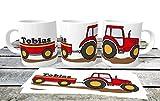 personalisierte Kindertasse roter Traktor mit Name | Namenstasse Trecker Schlepper Traktor | Kindergartentasse für kleine Landwirte und Treckerfahrer | Traktortasse | Treckertasse | Schleppertasse