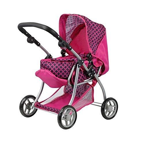 Doll Stroller - Carro de muñecas 3 en 1 - Transformable en sillita - Capazo extraible - manillar regulable en altura: 30 - 62 cm - plegable.