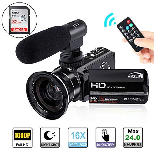 Videokamera Camcorder,AMZLIFE FHD1080P 24MP 3''LCD-Touchscreen IR Nachtsicht Digitalkamera,16X-Digitalzoom Video Camcorder mit Mikrofon Weitwinkelobjektiv und 32G SD Karte.