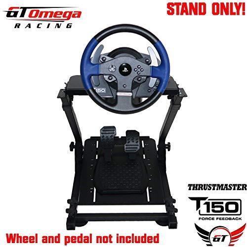GT Omega Lenkradständer PRO für Thrustmaster T150 Force Feedback Racing Wheel PS4 und Pedale, TX, Xbox, Fanatec - faltbar, neigungsverstellbares Design für ultimatives Sim Racing-Erlebnis