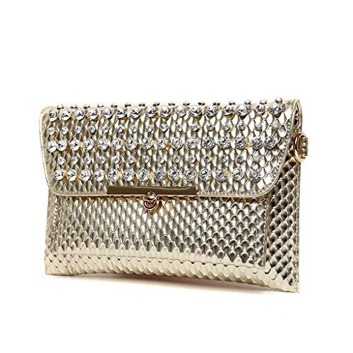 La grande capacità di nuova borsa autunno e inverno Messenger bag busta pochette borsetta diamante e pochette oro ( Colore : Bianca ) Oro