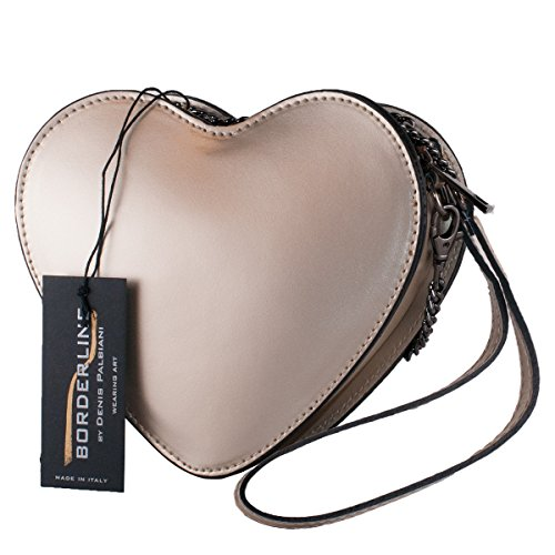 BORDERLINE - 100% Made in Italy - Pochette en cuir Real - HEART