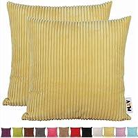 PLANDV Funda de Almohada Decorativa Solid Color Cord Pack 2, Disponible en 14 Colores y 10 Tamaños (35x50cm,Yellow)