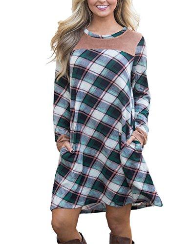 Hippolo Women's Plaid Printed Minikleid Langärmliges T-Shirt Kleid Ausgestellte Tunika Minikleider mit Tasche Lose Kleider Casual (L, Grün) (Taschen Ausgestellte)