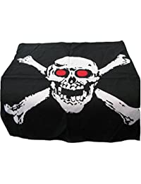 Super Pirate 100% cotton 55cm square Skull and Crossbones with red eyes Bandana,Brand new item .Perfect For Pirate parties ,Bikers etc ,