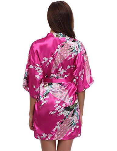 Aibrou kimono femme robe de nuit peignoir satin Fleurs Paon vêtements chemise de nuit cadeau pour la fête mariage Rouge Rose