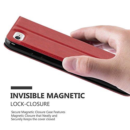 Apple iPhone 6 / 6S Hülle in SCHWARZ von Cadorabo - Handy-Hülle mit Magnet-Verschluss im View Design mit Sicht-Fenster Case Cover Schutz-hülle Etui Tasche Book Klapp Style SAFRAN-ROT