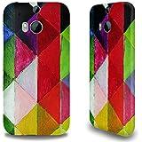 Premium Hülle für das HTC One M8, Hardcase aus recyceltem PET mit Designer Motiv - ''Farbige Karos I'' von August Macke