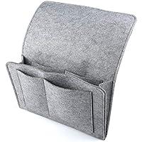 HOGAR AMO Dicke Filz-Bett-Caddy-Organizer Betttasche Sofa Hängeaufbewahrung für Handy, iPad, Brille, Buch, Fernbedienung, 4 Taschen & Seitenloch für Aufladungskabel 32 x 20cm