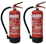 2 x 6 kg Feuerlöscher EN3 ABC Pulver Messingarmatur + Sicherheitsventil + Manometer + Standfuß + Wandhalterung Pulverlöscher