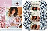 Gründl Funny Color 3x100 Gramm Softgarn kuschelliges Garn aus 100% Polyester (3er Set 03 Blau Weiss) + Häkelanleitungsheft für Eine Kuscheldecke+ 3 Strasssteine Zum aufnähen