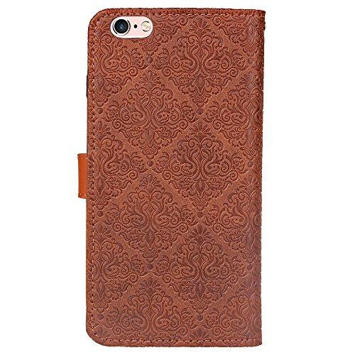 Für Apple IPhone 6 6s Plus Fall Deckung Europäische Wandmalerei geprägt Pressing Flower Pattern PU Leder Brieftasche Fall mit Halter & Foto Frame & Card Slots ( Color : Purple ) Brown