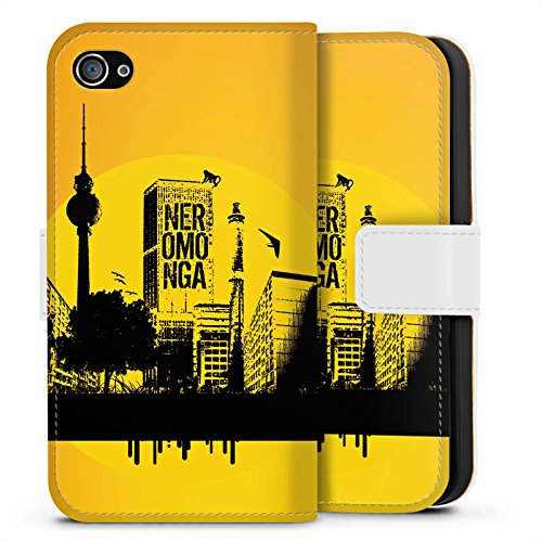 Apple iPhone X Silikon Hülle Case Schutzhülle Berlin Stadt Fernsehturm Sideflip Tasche weiß