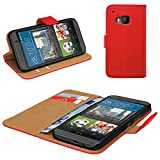 eFabrik Cover für HTC One M9 Schutzhülle M9 Prime Camera Edition Tasche Handy Zubehör Bookstyle Case Hülle mit Aufstellfunktion Wallet Kunstleder Rot