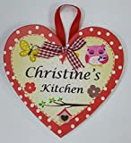 CHRISTINE Named personalised Heart Shaped Kitchen Magnetic Plaque By Sterling Effectz