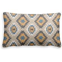 Bonny sui federa Dimensioni caramello marrone arancione scuro blu IKAT mosaico Pillow case