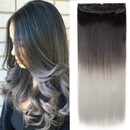 Extension capelli clip lisci grigi fascia unica 63cm estensioni sintetiche con 5 clips in hair extensions 3/4 full head 120g - nero scuro a grigio argento