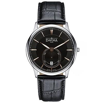 Davosa Swiss Flatline 16248355 Black Analog Men Wrist Watch Genuine Leather