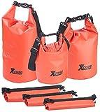 Xcase Wasserdichte Packbeutel: 3er-Set Wasserdichte Packsäcke aus LKW-Plane, 5/10/20 Liter, Rot (Wasserdichter Beutel)