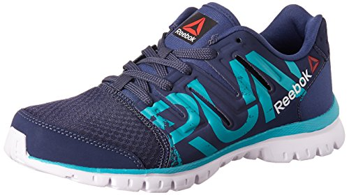 1. Reebok Men's Ultra Speed Running Shoes Blue, Teal, Metallic Silver and White