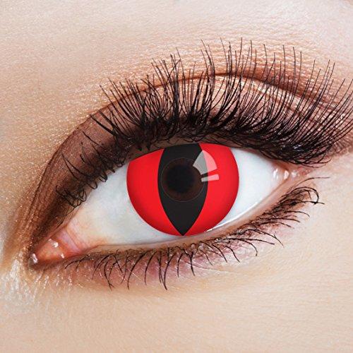 aricona Farblinsen Farbige Katzenaugen Kontaktlinsen Cat In Red -Deckende Jahreslinsen für dunkle und helle Augenfarben ohne Stärke,Farblinsen für Karneval,Fasching,Motto-Partys und Halloween (Party Bei Der Darstellung Und Kostüm)