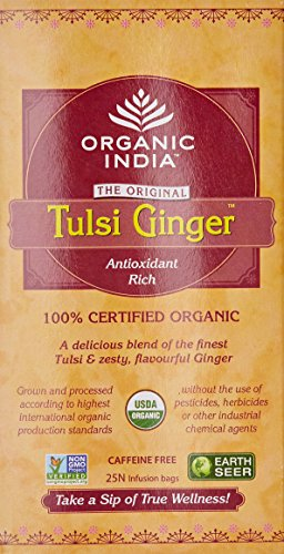 Organic India Tulsi Ginger Tea - 25 Tea Bags  available at amazon for Rs.135