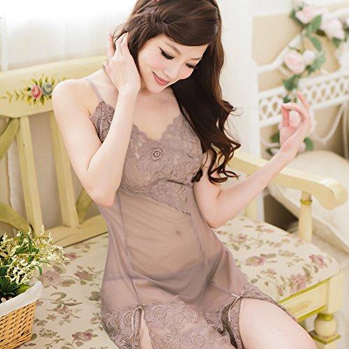 lpkone-Tentation lingerie sexy ladies dentelle chemise de maille sangle ensemble lingerie transparente Taille Libre,la lavande Lavender