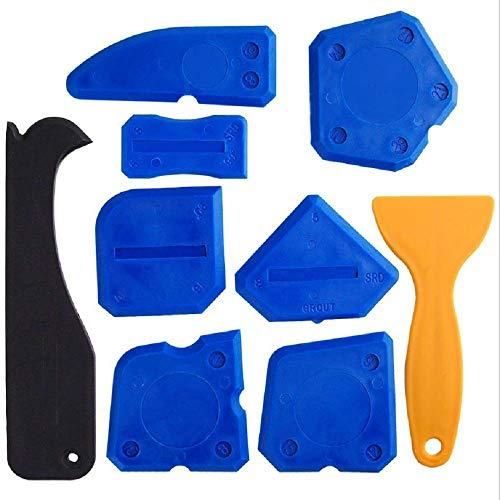 Wsj 9 pezzi di sigillanti utensili, kit stuccatura silicone, attrezzo di tenuta per bagno cucina camera e telai sigillanti guarnizioni (due pezzi)