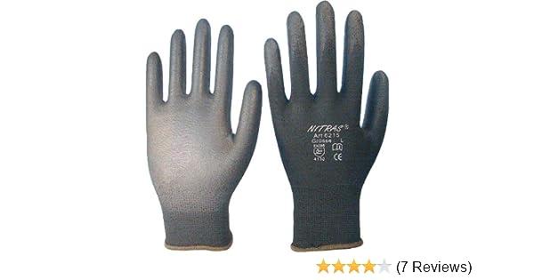 8 Nitras 6215 Nylon Strickhandschuh Arbeitshandschuhe 12 Paar Schwarz Gr M