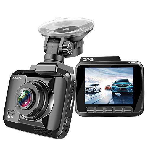 AZDOME 4K WiFi Autokamera mit GPS Dashcam mit 170° Weitwinkelobjektiv, Loop-Aufnahme, Nachtsicht, G-Sensor, Parkmonitor und Bewegungserkennung Auto Dashcam KFZ Kamera(GS63H)