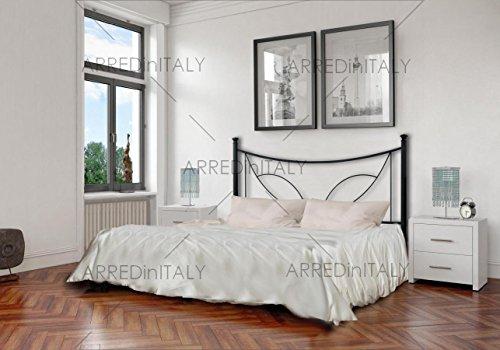 Letto matrimoniale in ferro colore nero grafite con giroletto predisposto per rete con piedini 160 x 190 cm. non inclusa - prodotto made in italy - arr067