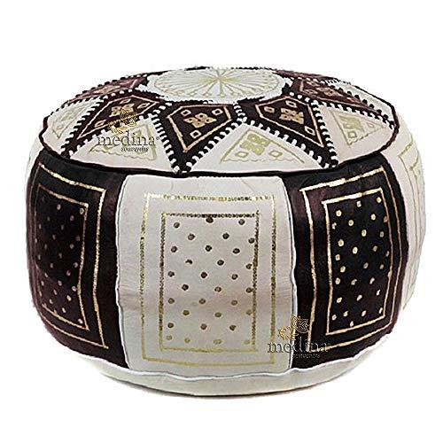 Medina Souvenirs Fassi osmanischen Leder Elfenbein und schwarz, große Runde osmanischen echtes Leder handgefertigt - Ungefüllt -