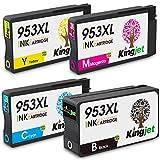 Kingjet 953XL Druckerpatronen Ersatz für HP 953 953XL Kompatibel mit HP OfficeJet Pro 8740 8710 8720 8730 8210 8728 7740 8725 8218 8715 8718 8719 (1 Schwarz 1 Cyan 1 Magenta 1 Gelb)