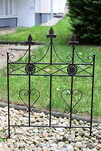 aubaho Beetstecker Zaun Beeteinfassung Antik-Stil Metall Gartenzaun Herz 71cm