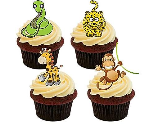 Animaux de la jungle Lot de décorations comestibles pour gâteaux–Col Montant Décorations pour cupcakes, Pack of 12
