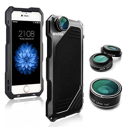 iPhone 5/5S/SE Lenti per cellulare Kit,OXOQO 3 in 1 Lente Fisheye 198°+ Lente Macro 15X + Lente Grandangolo con IP54 telaio in alluminio antiurto caso,Built-in Proteggi schermo 4.0 Inches(Nero)