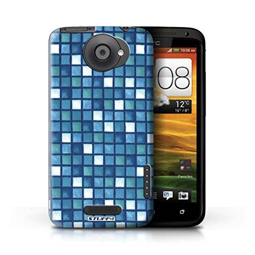 Kobalt® Imprimé Etui / Coque pour HTC One X / Vert/Brun conception / Série Carreau Bain Bleu/Blanc