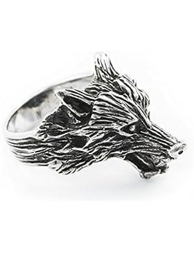 WINDALF Wolfsring GERÎ h: 2.2 cm Odins Wolf Antik geschwärzt 925 Sterlingsilber