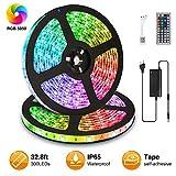 Elfeland LED Streifen 10M LED Strip Stripes RGB 300 Leds 5050SMD LED Band Lichterkette Bänder Hintergrundbeleuchtung mit 44 Tasten Fernbedienung IP65 Selbstklebend Innen...