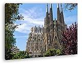 La Catedral Sagrada Familia en Barcelona como Lienzo, diseño enmarcado en marco de madera, impresión digital de alta calidad con marco, no es un póster o cartel, lona, 120 x 80